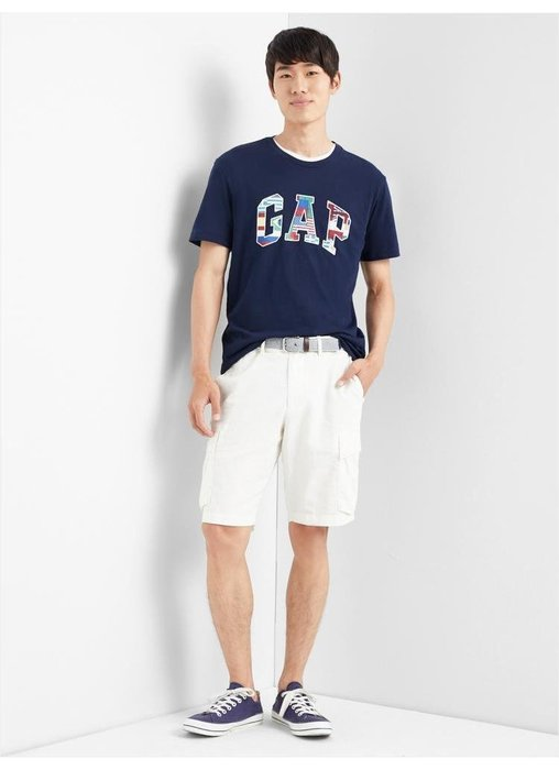 GAP 短袖 T恤 上衣 現貨 標誌 深藍國旗