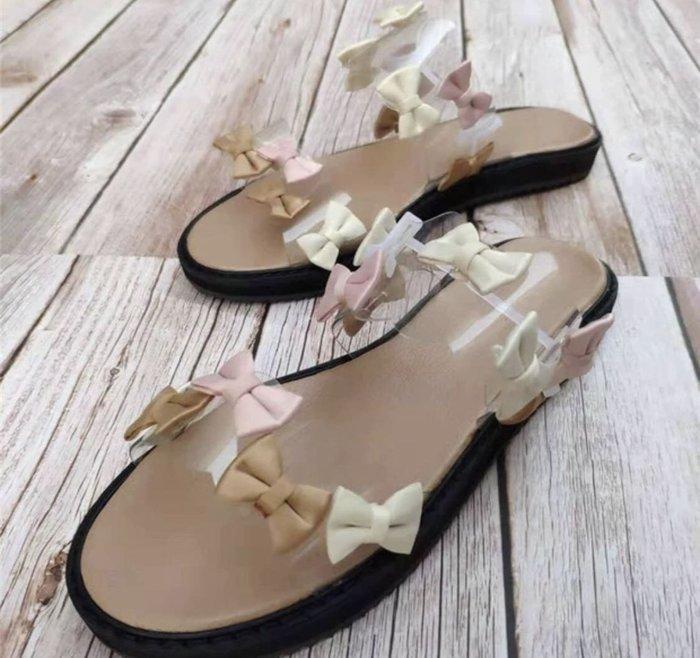新貨上架國外帶回大牌超美蝴蝶結透明涼鞋size:39