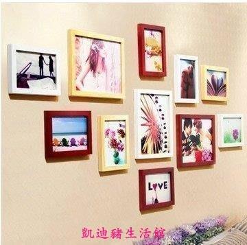 【凱迪豬生活館】掛畫 框畫11框黑白搭配時尚經典實木照片墻組合歐式現代家飾畫框KTZ-201020