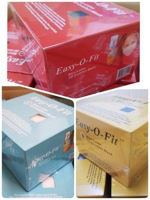 【口罩現貨】80片/盒Easy-O-Fit (舒亦適)不織布3層式拋棄式口罩,一體成形幼兒.小孩口罩大人口罩國外買家可批