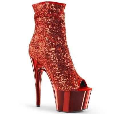 Shoes InStyle《七吋》美國品牌 PLEASER 原廠正品亮片鍍鉻金屬厚底高跟魚口短靴 出清『紅色』