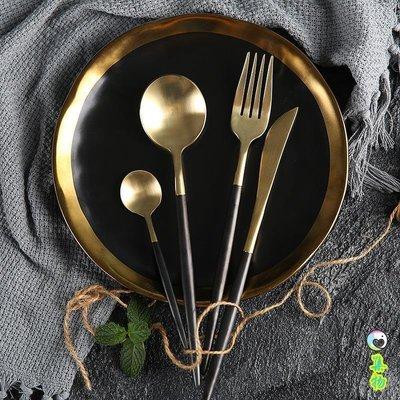 (免運)葡萄牙同款不銹鋼西餐具套裝 西餐刀叉牛排甜品勺水果叉黑金白銀