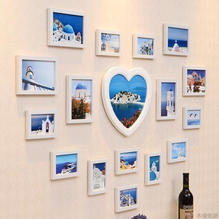 照片墻心型相框墻歐式浪漫婚禮掛墻客廳相片墻創意組合MUYOU-B502