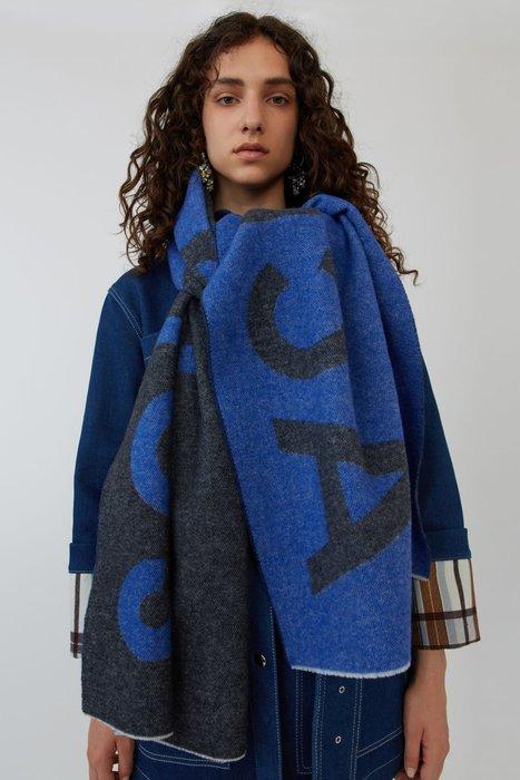 正品 瑞典 Acne Studios Logo scarf 楊冪 BURBERRY 巴黎世家大LOGO 雙面圍巾 藍黑色
