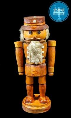 【波賽頓-歐洲古董拍賣】歐洲/西洋古董 德國早期 20世紀 彩繪木雕 大型胡桃鉗礦石山人偶 B款(高度:40cm)(年份:約1940-1950年)