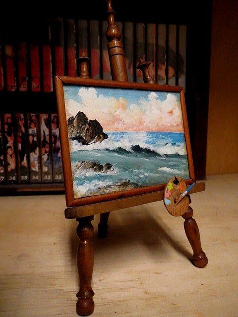 【 金王記拍寶網 】 Z244 早期  小畫架手繪油畫 櫥窗擺件素材  (正老品) 罕見稀少 一件