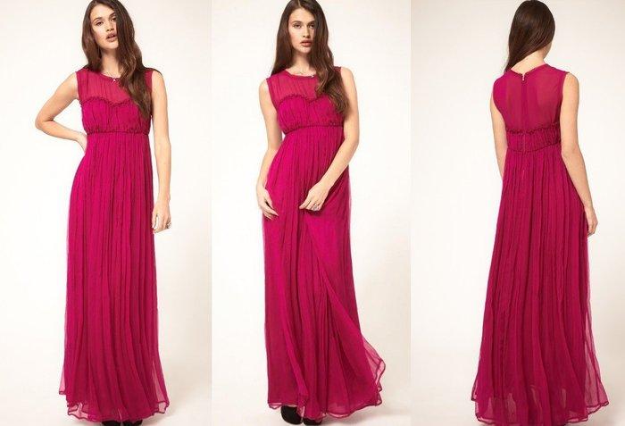 【ASOS WORLD】英國直送 現貨特價UK10 歐風優雅精緻訂製禮服超美桃紫紅高腰雪紡長洋裝婚禮可當孕婦裝有中大尺碼