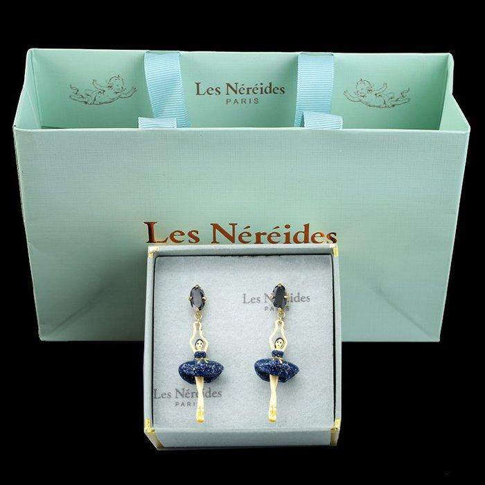 Lissom韓國代購~LES bsl nereides芭蕾舞耳環琺瑯彩釉糖果色立體女孩鋯石耳夾耳釘