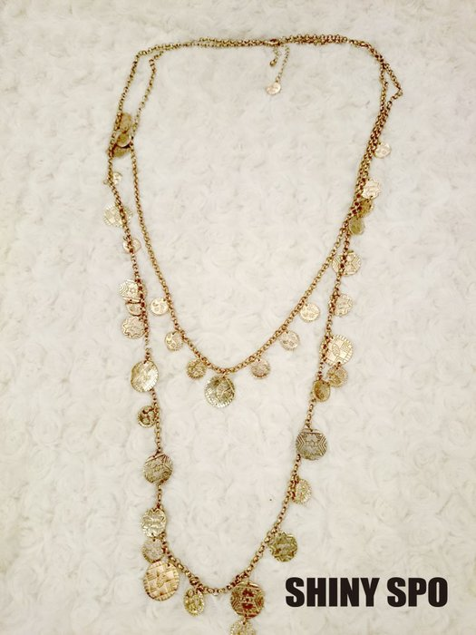 SHiNY SPO 日本品牌 Lagunamoon 金色多個小金幣綴飾2條一組項鍊 特價