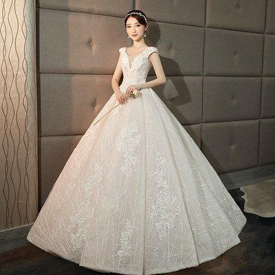 婚紗 禮服 齊地婚紗禮服2019新款新娘結婚星空深v領雙肩夢幻公主蓬蓬裙顯瘦