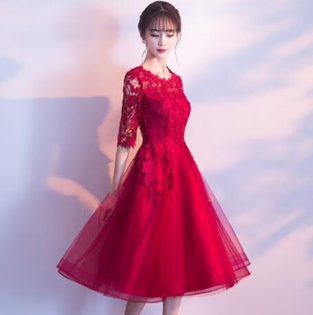 敬酒服新娘 新款紅色顯瘦訂婚 結婚禮服回門服女中長款洋裝—莎芭