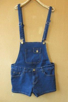 《芬芳衣櫃》☆°精緻推薦CUTTLE˙俏麗甜美深藍刷色可拆吊帶造型牛仔短褲(XL)~9247