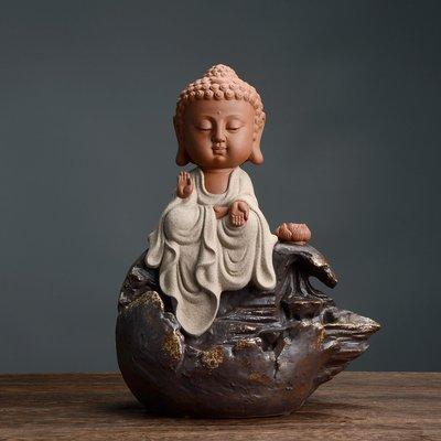 傳藝工坊 - 『童真系列 釋迦牟尼』倒流香座 Q版 可愛 裝飾 藝術 收藏 彩砂陶 娑婆三聖 如來 佛祖