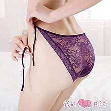 『迷情紫煙.綁帶蕾絲花紋透視內褲』情趣用品 性感內褲
