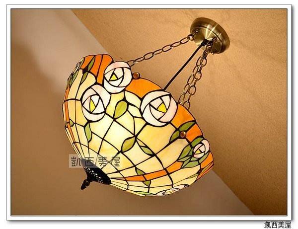 凱西美屋 16寸Tiffany第凡內橘邊粉玫瑰反吊燈 彩玻手工拼焊蒂凡尼玫瑰吊燈 餐吊燈 臥室燈