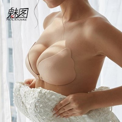 胸貼硅膠胸貼女婚紗用新娘聚攏防滑上托小胸加厚隱形文胸薄款大胸乳貼    全館免運