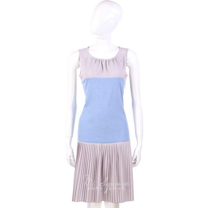 米蘭廣場 FABIANA FILIPPI 耦/水藍色拼接百褶裙 無袖洋裝 1320197-27