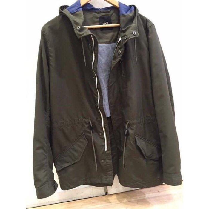 英國 正品 ASOS 帥氣英倫摩斯mods搖滾樂團軍綠大衣風衣外套外套 中性 男女皆可