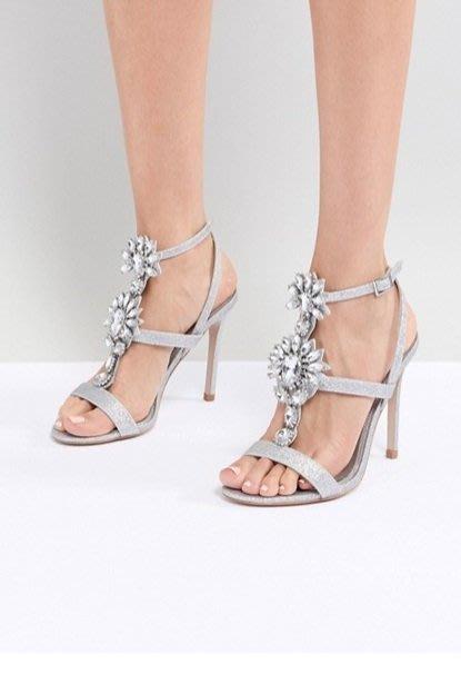 ◎美國代買◎ASOS小碎鑽與水鑽花朵裝飾金葱材質水鑽露趾高跟涼鞋~歐美街風~大尺碼