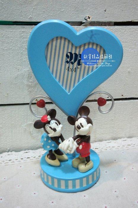 ~*歐室精品傢飾館*~鄉村風格 正版 迪士尼 系列 愛心 手牽手 米奇 米妮 相框 擺飾 裝飾 藍 ~新款上市~