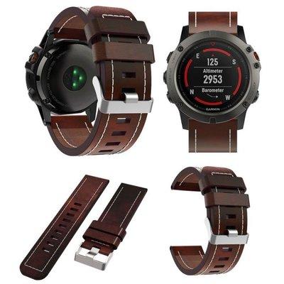 酷霸 佳明 Garmin Fenix 5x 錶帶 復古真皮 頭層牛皮 Fenix3 HR飛耐時3 替換腕帶 商務型 智能