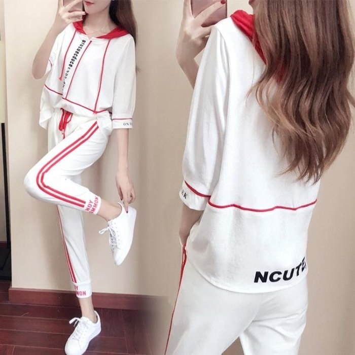 中大尺碼 2018夏季新款韓版中袖運動服時尚兩件套潮LJ3052