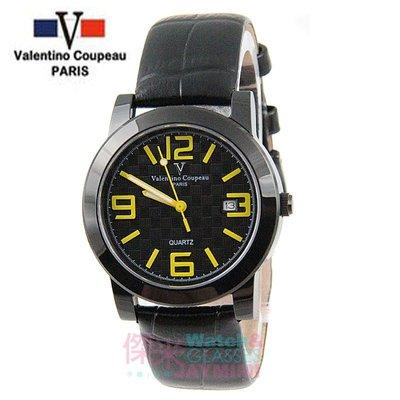 【JAYMIMI傑米】Valentino范倫鐵諾古柏皮帶手腕錶-格紋法式浪漫主義彩色刻度藍水晶玻璃 黑黃 特價 1450