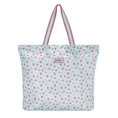 【現貨】英國 Cath Kidston   淺藍綠色底  藍紅白花 大折疊手提包 袋口有磁性可扣住