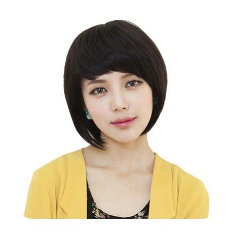 整頂 假髮 真髮絲-斜瀏海內彎短髮大方女假髮73vc5[獨家進口][巴黎精品]