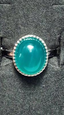 [天天有好物]   天然水晶   天河石 半銀戒指一元競標無底價 #0516