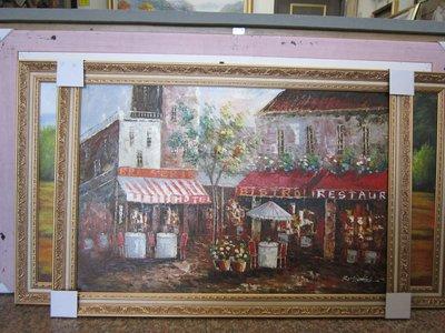 『府城畫廊-手繪油畫』歐風-餐廳-風景畫-筆法細膩獨特-72x102-(含框價,可換框)-有實體店面-請查看關於我聯繫-