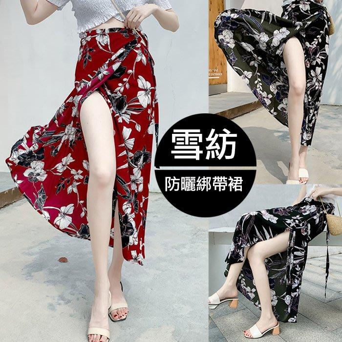 【JS 姊妹時代】【3E4801】海灘渡假風雪紡防曬半身裙綁帶一片式花色長款裙子