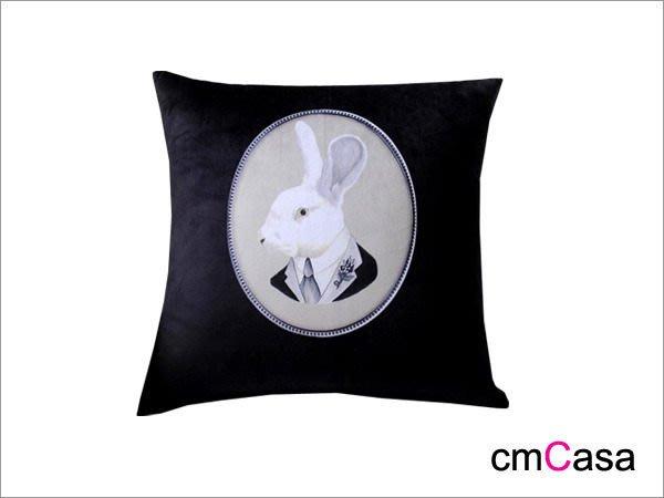 = cmCasa = [3780]後現代英倫奇幻風 紳士兔短絨抱枕套  奇幻風格新設計