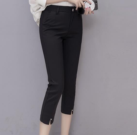 七分褲女夏小腳褲休閒褲黑色顯瘦7分褲女鉛筆褲薄款八分西裝中褲