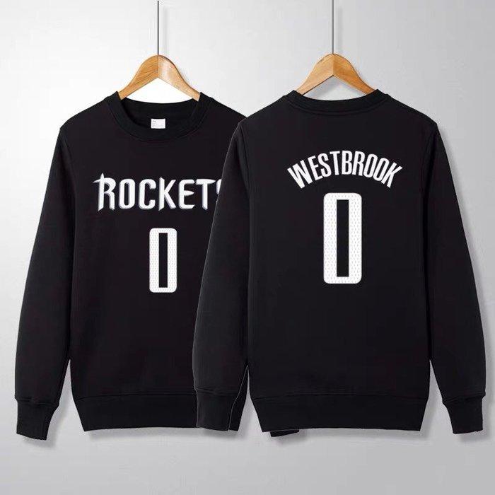 💖威少Russell Westbrook長袖純棉T恤上衛衣💖NBA火箭隊Adidas愛迪達運動籃球衣服大學T男978