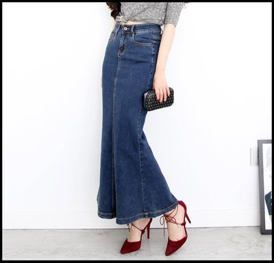 【Fashion歐洲站】春夏裝新款魚尾長裙荷葉邊牛仔裙半身裙顯瘦彈力喇叭裙子深色女式