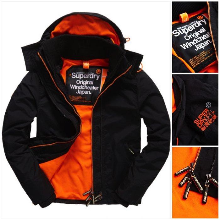 極度乾燥 Superdry Arctic Windcheater jacket 風衣 外套 防風 刷毛內裡 黑橘 現貨