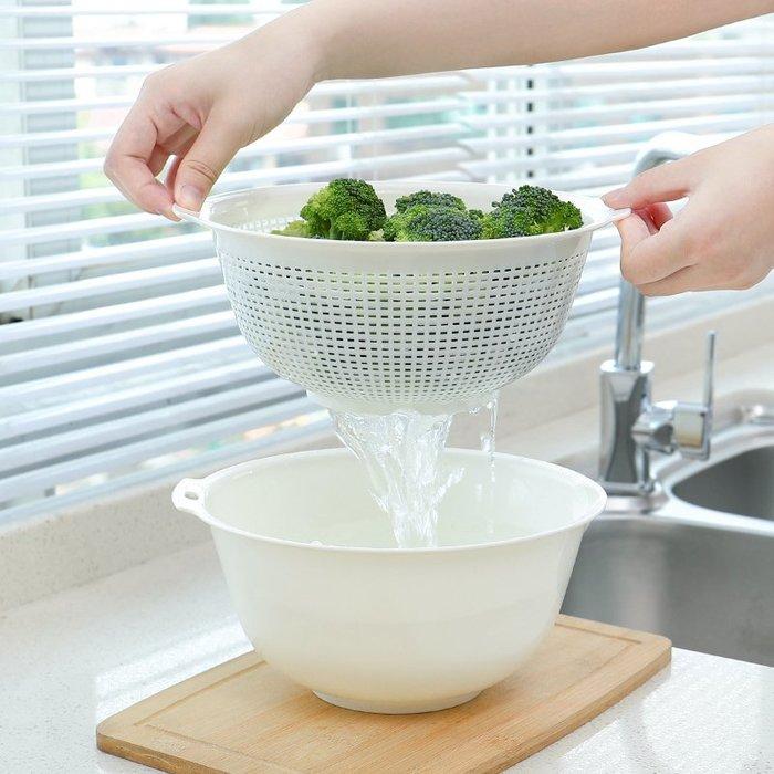雙層洗菜盆瀝水籃家用圓形塑料簡約現代客廳瓜果盤淘米盆水果籃子