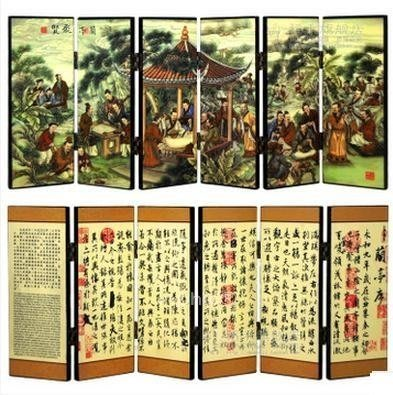 INPHIC-精緻漆器小屏風工藝品書房辦公室裝飾擺飾 王羲之書法 蘭亭序