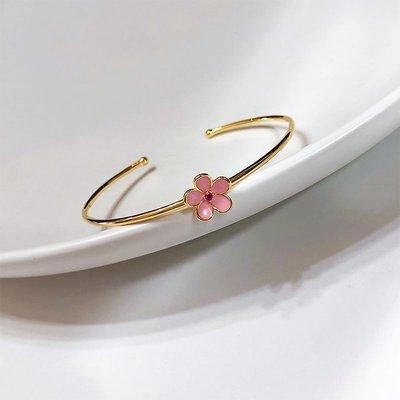 匠心之作飾品Little Joys 925銀鍍18k金 粉色桃花手鐲 甜美少女心桃花運系列