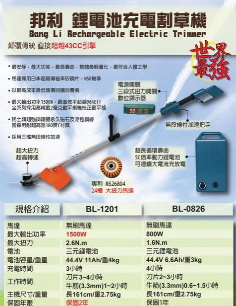 【專業洗車設備の店 】邦利 鋰電割草機 BL-1201