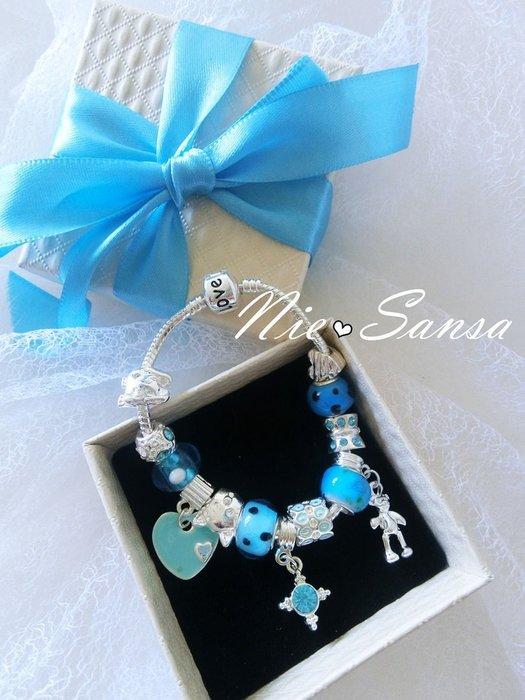 Nie Sansa 現貨特價出清 海洋之星 潘朵拉風格之手作珠飾吊飾銀色手鍊手環飾品
