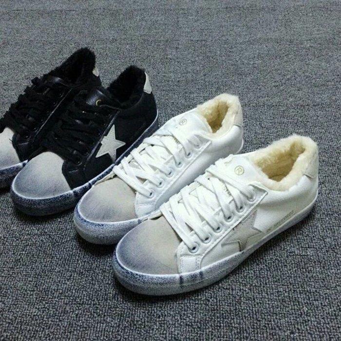 韓國東大門棉鞋星星做舊加绒低幫繫帶平鞋女鞋小白鞋(偏小版鞋)
