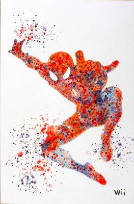 聚鯨Cetacea﹡Art【SpiderMan(蜘蛛人) / Wii】進口油畫 無框畫 手繪油畫 電影主題