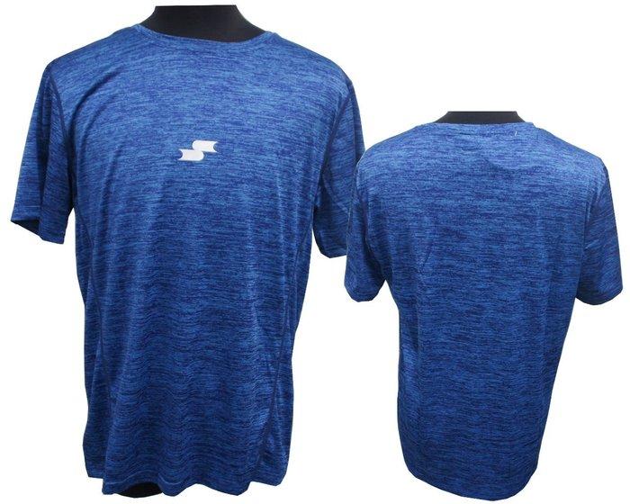 《星野球》SSK 新款 短袖圓領涼感T恤 練習衣  棒壘球 慢跑, 提花紋寶藍色 , 速乾 透氣排汗