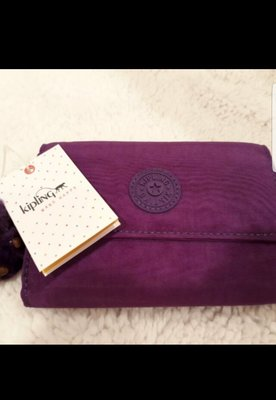 Kipling 短夾 全新正紫色