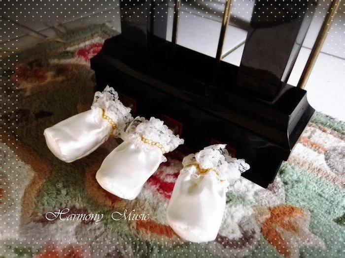 PC33∮有琴有藝@台中全新鋼琴腳踏板套(一組3個)高雅絲質緞帶&蕾絲踏板套白色