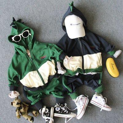 【Mr. Soar】 H120 秋季新款 韓國style童裝男童恐龍套裝(連帽外套+長褲) 現貨