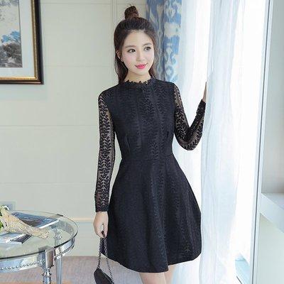 2017春装新款女装韩版长袖气质修身蕾丝连衣裙收腰显瘦打底公主裙