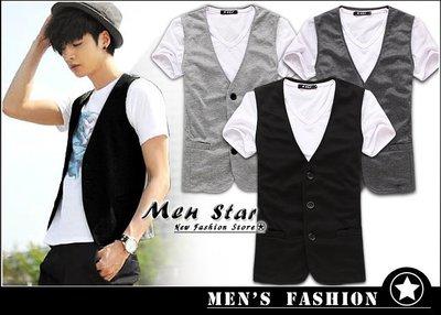 【Men Star】免運費 韓版高棉質西裝背心 黑色背心 灰色背心 調嘎 男 媲美 vens g2000 qu zara